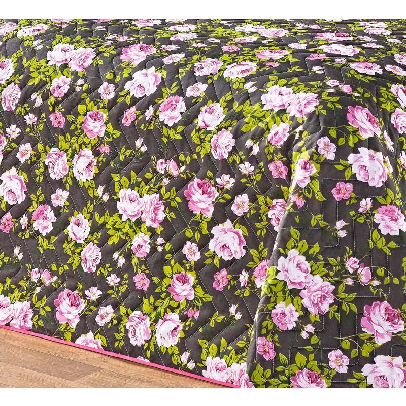 Cobre Leito Casal Queen Siena DF 03 Peças Tecido Misto Estampado - Rosa Floral
