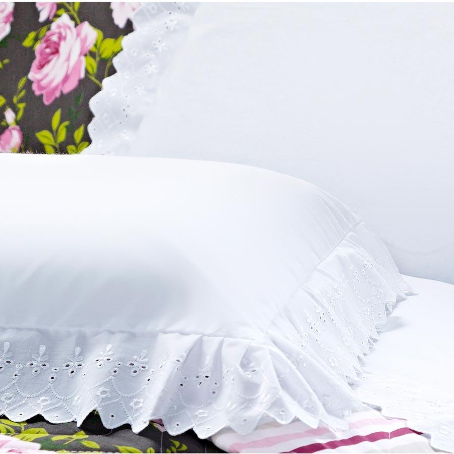 Jogo de Lençol Casal Queen Siena 4 Peças 100% Algodão 150 Fios com Lese - Branco