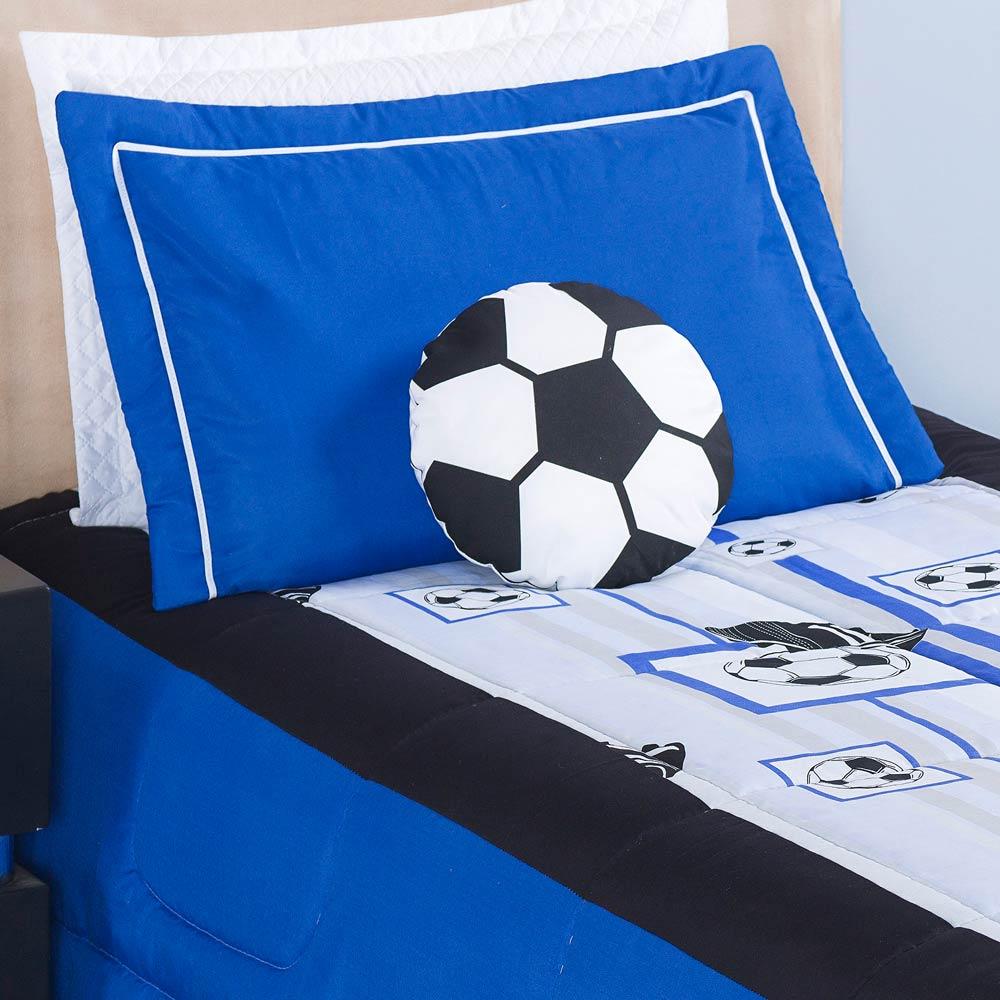 Kit Edredom Solteiro Soccer (Futebol) 03 Peças Estampado com Almofada - Azul