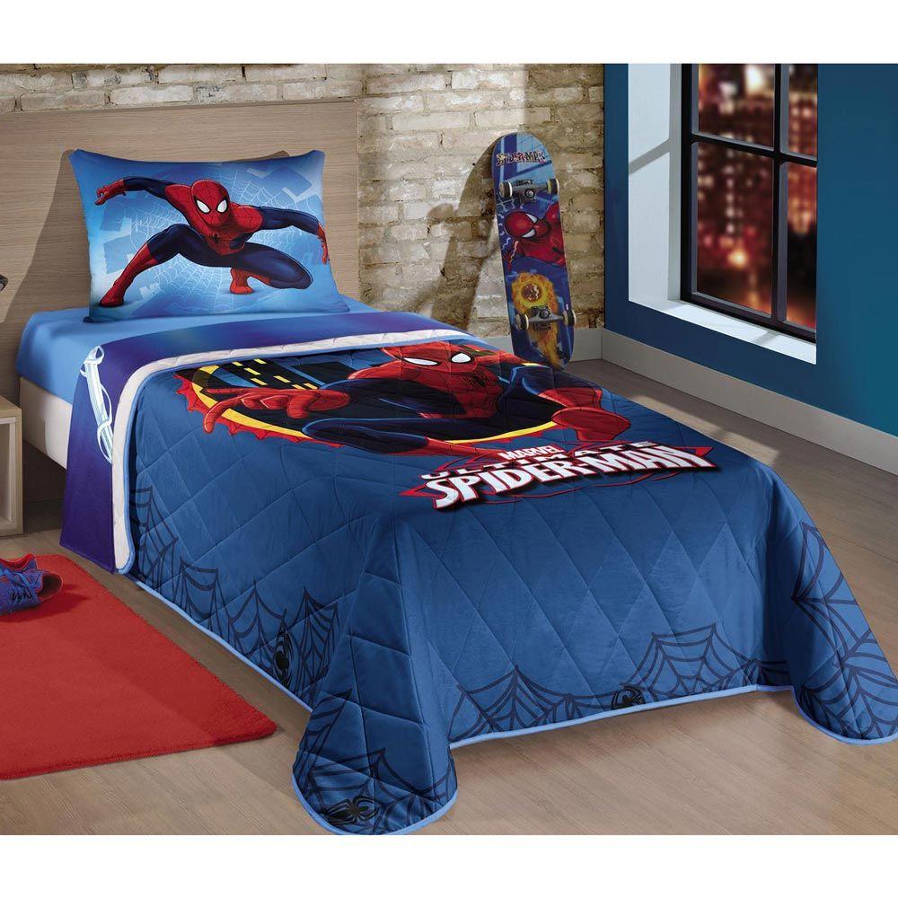 Cobre Leito p/ Cama Solteiro Spider Man (Homem-Aranha) 01 Peça - Matelado