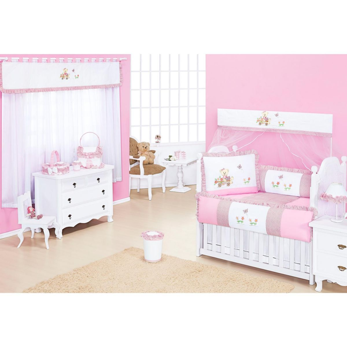 Coleção Completa para Quarto de Bebê Ternura Rosa - 18 Peças