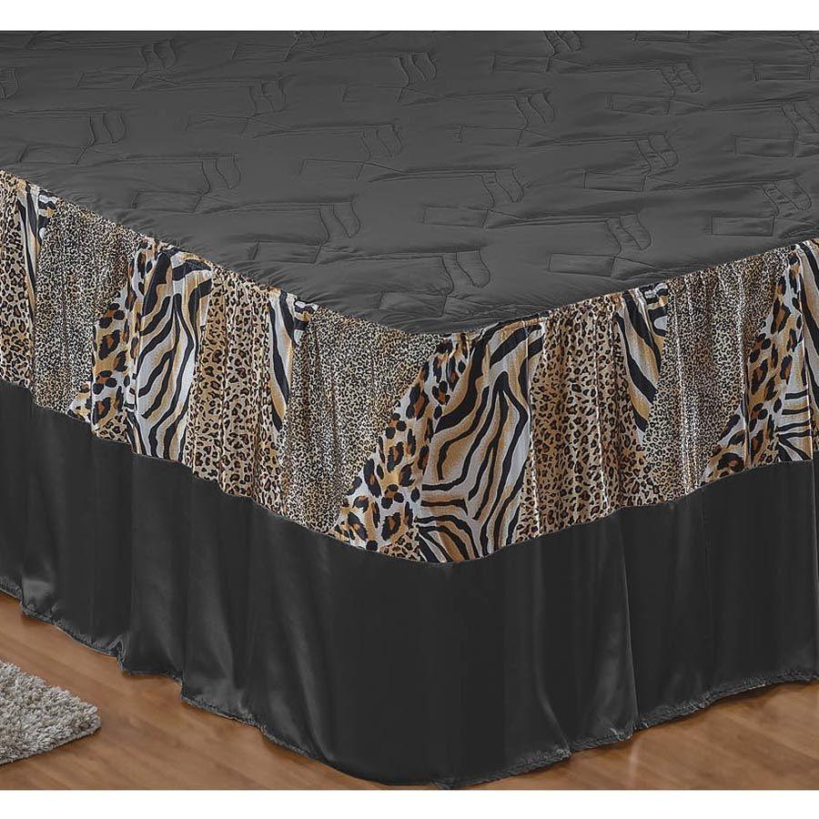 Colcha Casal Queen Tigreza 04 Peças Tecido Microfibra - Preto