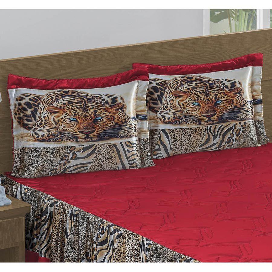 Colcha Casal Queen Tigreza 04 Peças Tecido Microfibra - Vermelho