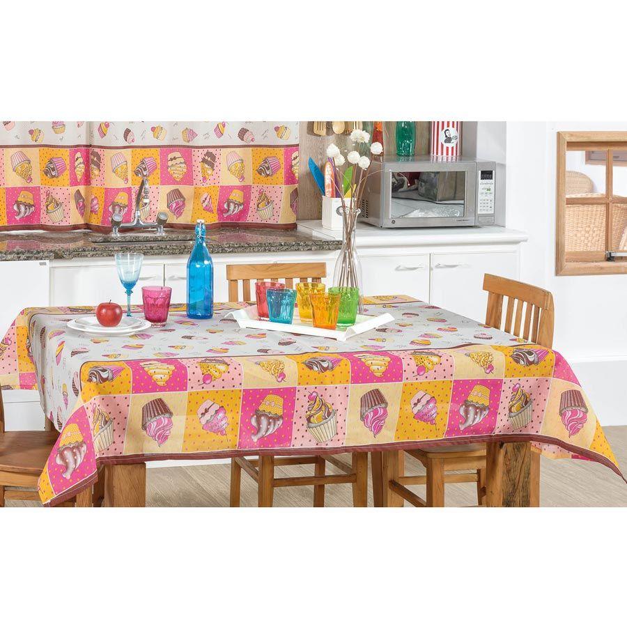 Toalha de Mesa retangular Estampada Cupcake 3,00m x 1,40m Tecido Misto - Rosa