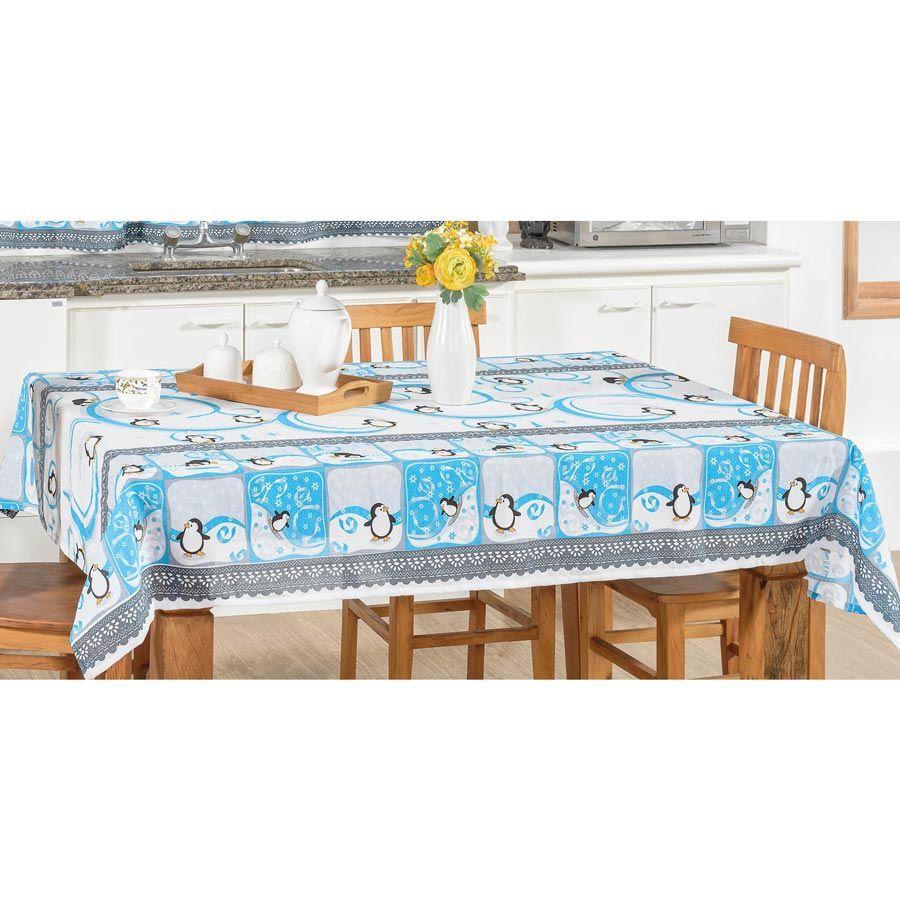 Toalha de Mesa retangular Estampada Pinguim 2,00m x 1,40m Tecido Misto - Azul