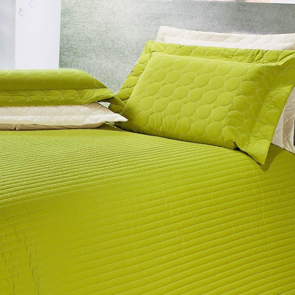 Cobre Leito Casal Queen Tropical 03 Peças Liso 100% Algodão - Verde