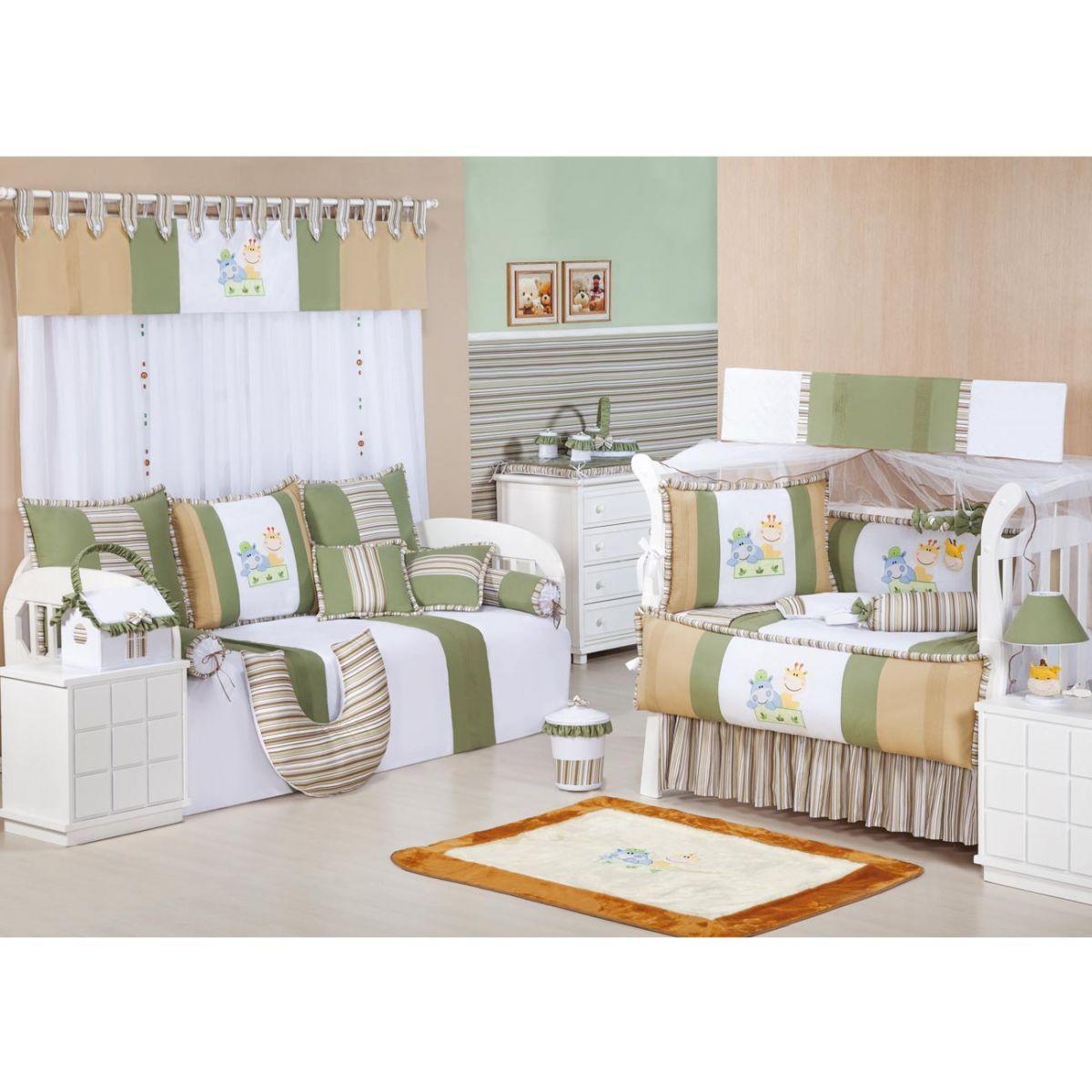 Coleção Completa para Quarto de Bebê Turminha da Floresta 100% Algodão - 20 Peças