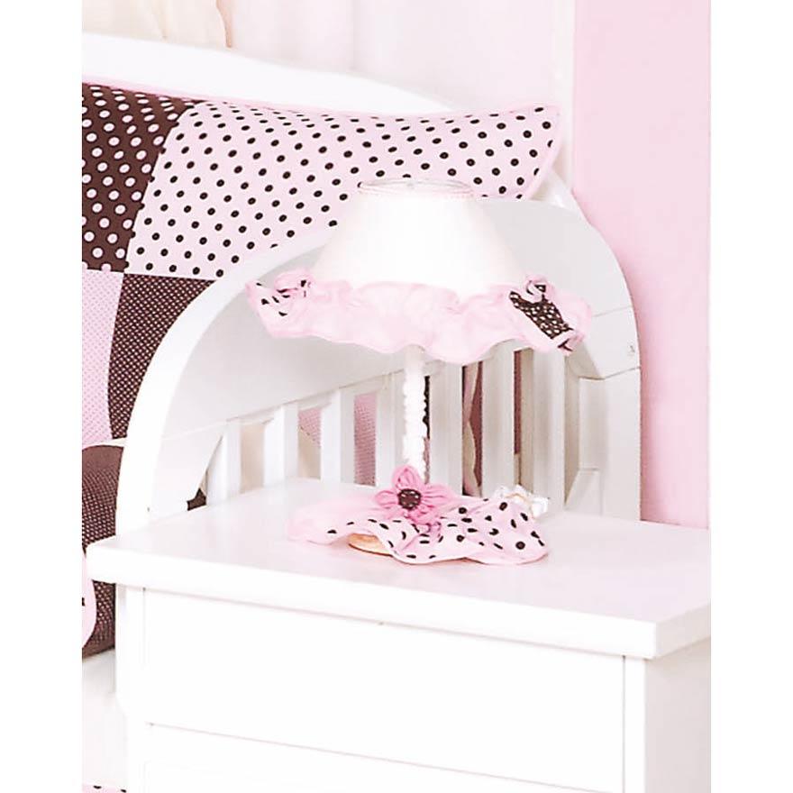Abajur Enfeitado para Quarto Bebê Coleção Ursa Florista - Rosa