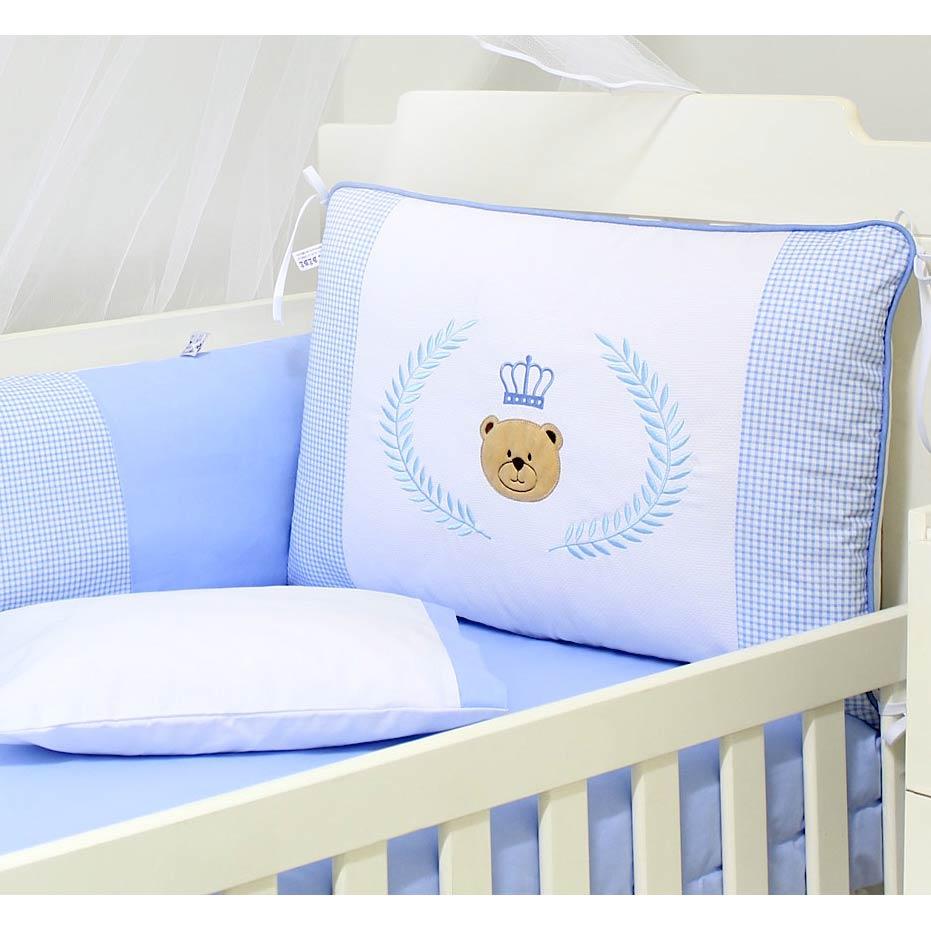 Kit Berço 9 Peças Americano c/ Mosquiteiro - Coleção Urso Majestade - 100% Algodão - Azul