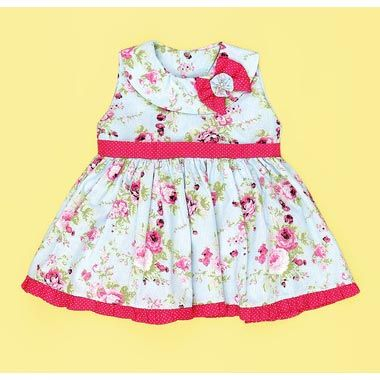 Vestido para Beb� - Tecido Tricoline - Branco com Floral Pink - G