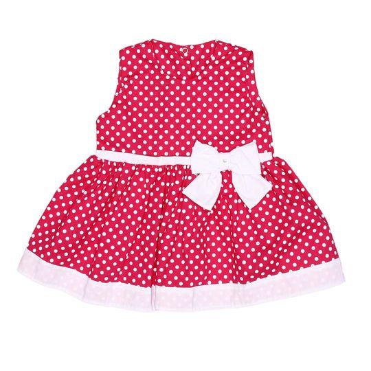 Vestido sem Manga Laço Feminino Pink com Poá Branco Tecido Tricoline - Tamanho 1
