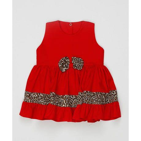 Vestido sem Manga Laço Feminino Vermelho com Onça Tecido Tricoline - Tamanho 3