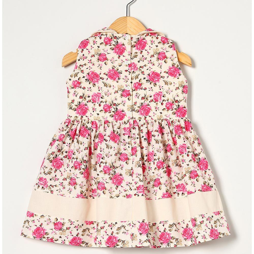 Vestido sem Manga com Laço Palha/Pink Tecido Tricoline - Tamanho P