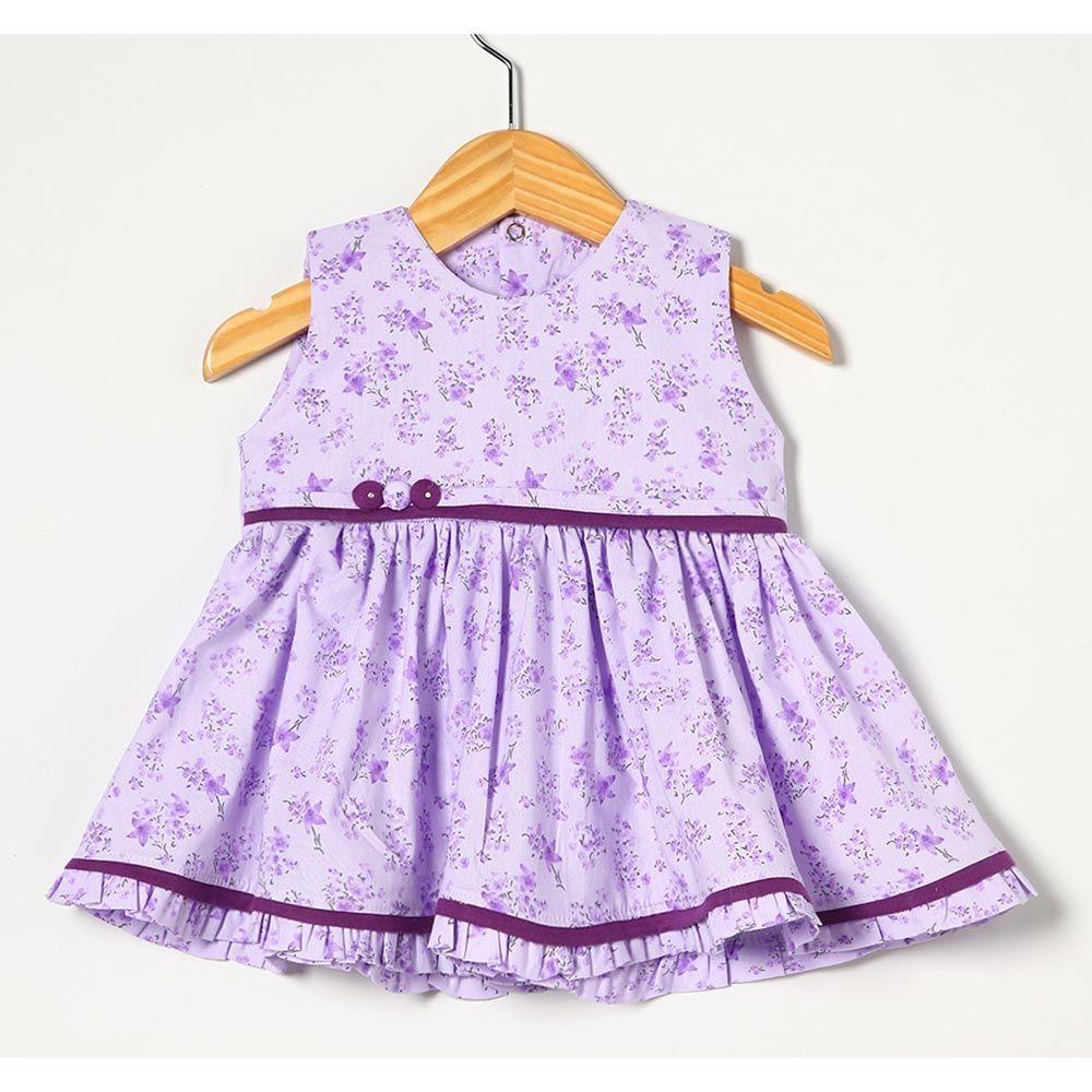 Vestido sem Manga Estampado Lilás Tecido Tricoline - Tamanho P