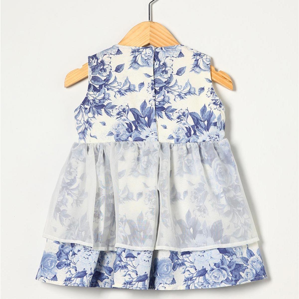 Vestido sem Manga com Laço Floral Azul Tecido Tricoline - Tamanho 02