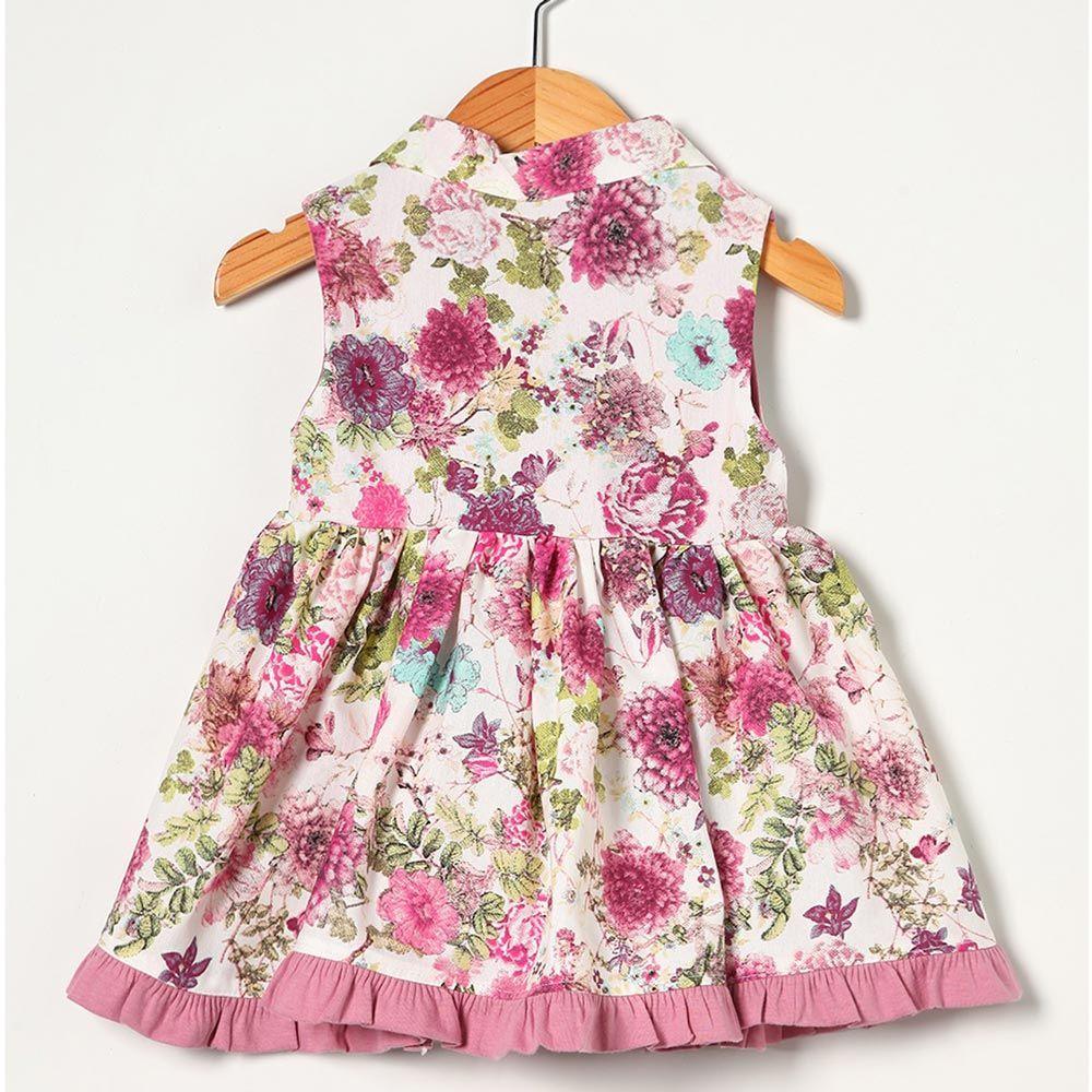 Vestido sem Manga Estampado Floral Rosê Tecido Tricoline - Tamanho G