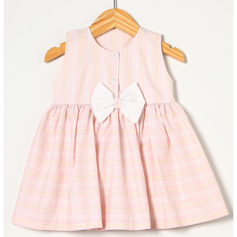 Vestido sem Manga com Laço Rosa BB Tecido Tricoline - Tamanho 03
