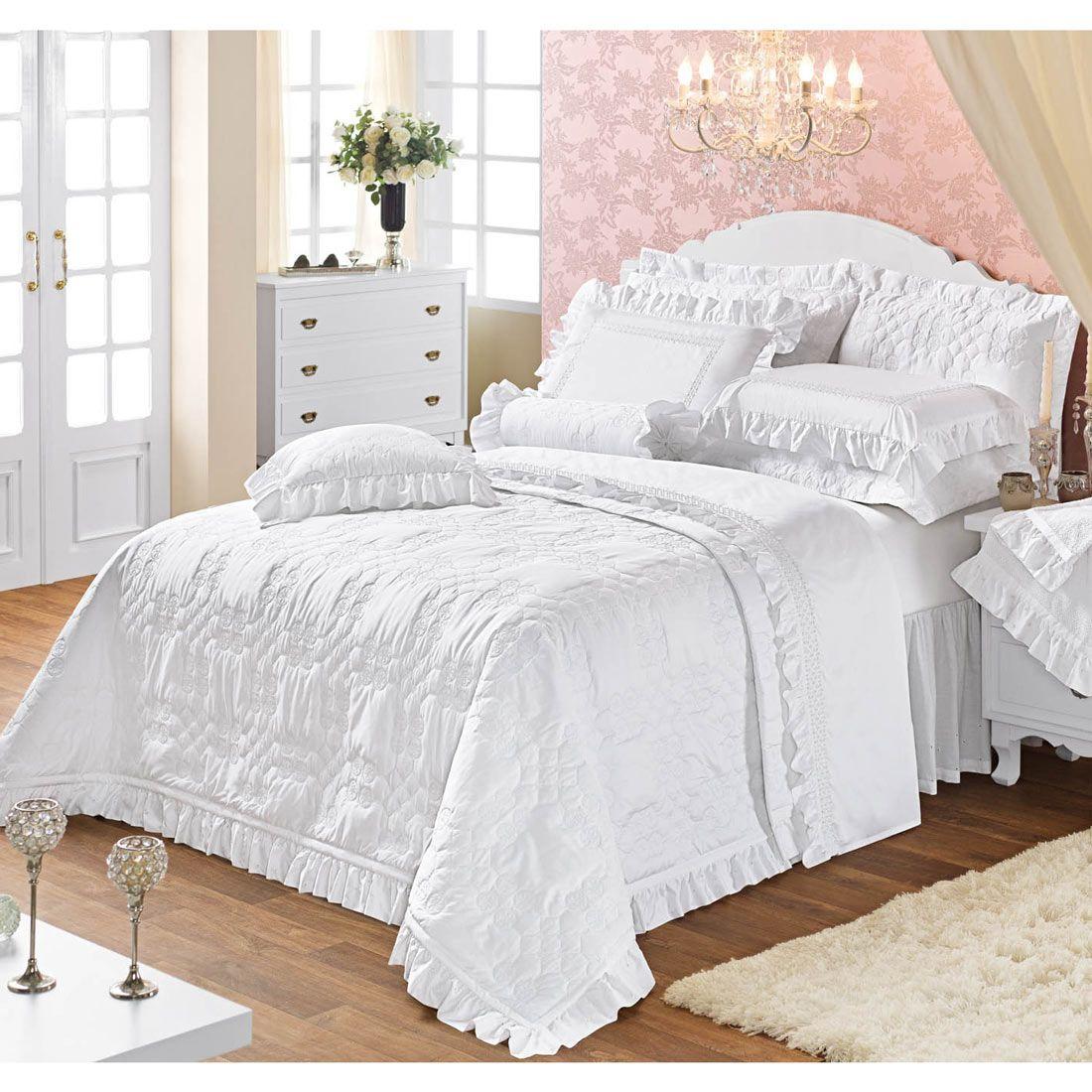 Coordenado Casal Queen Windsor 07 Pe�as - 100% Algod�o 600 Fios - Branco