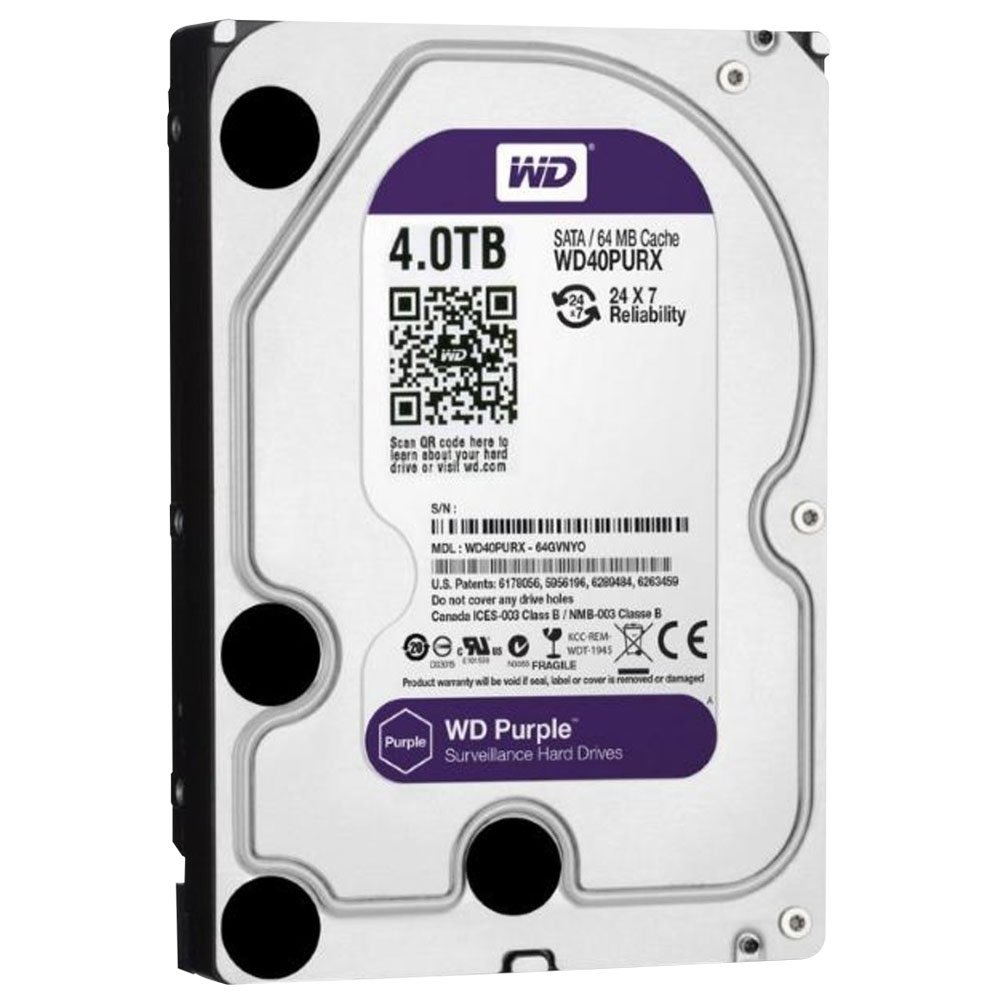 Hd Purple 4tb Sata 6 Gb / s 7200rpm 64mb Wd40purx Ideal para Vigilância