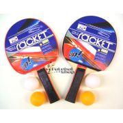 Kit T�nis de Mesa c/ 2 Raquetes e 4 Bolas Racket