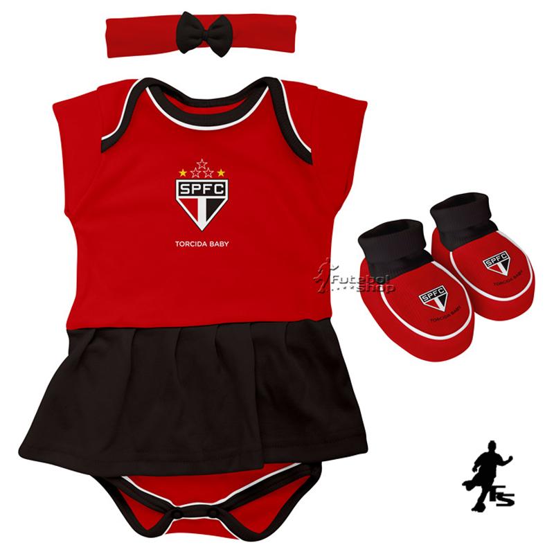 Kit 3 Peças Torcida Baby Body Menina São Paulo - 033B