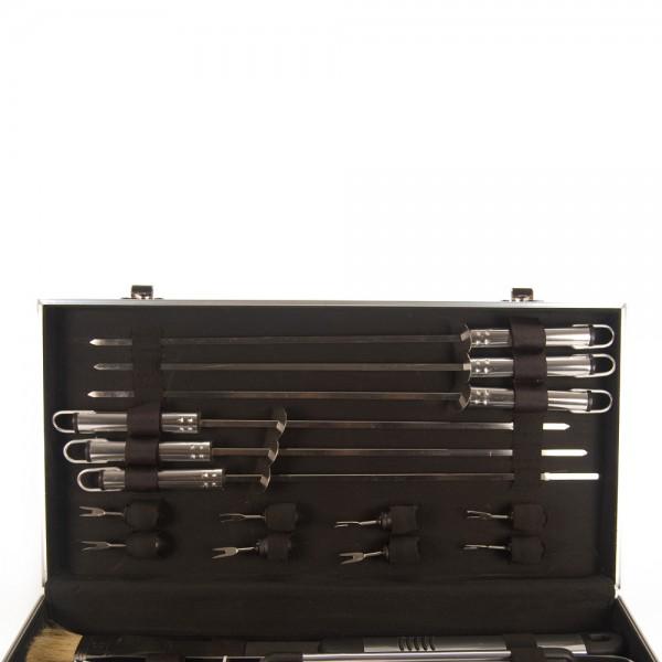 Jogo para Churrasco com 18 peças Em inox com maleta de alumínio  - Mix Eletro