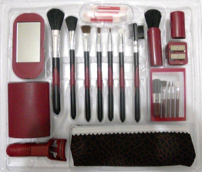 KIT 7 PINCEIS + 15 acessórios de Maquiagem incluindo Curvex - vinho  - Mix Eletro