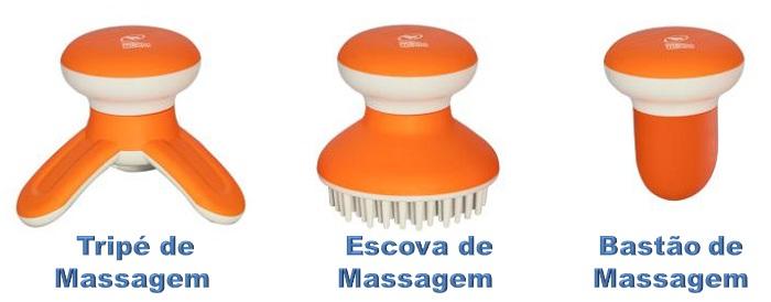 Mini Massageador 3 em 1, Tripé de Massagem + Escova de Massagem + Bastão de massagem Relax Medic  - Mix Eletro