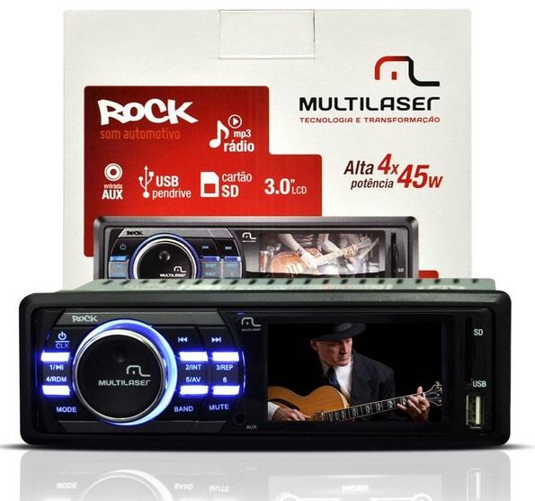 Mp3 Player Automotivo Multilaser Rock Mp5 Tela 3 Lcd Usb Sd  - Mix Eletro