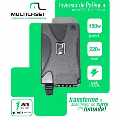 Inversor de Corrente Automotivo 150W, saída de tomada e USB 5V  - Mix Eletro
