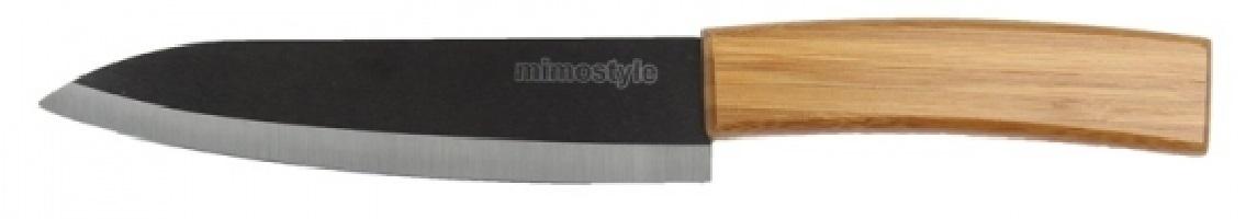 Faca cerâmica do CHEF lâmina preta 15cm com cabo de madeira KOMIMO Mimo Style  - Mix Eletro