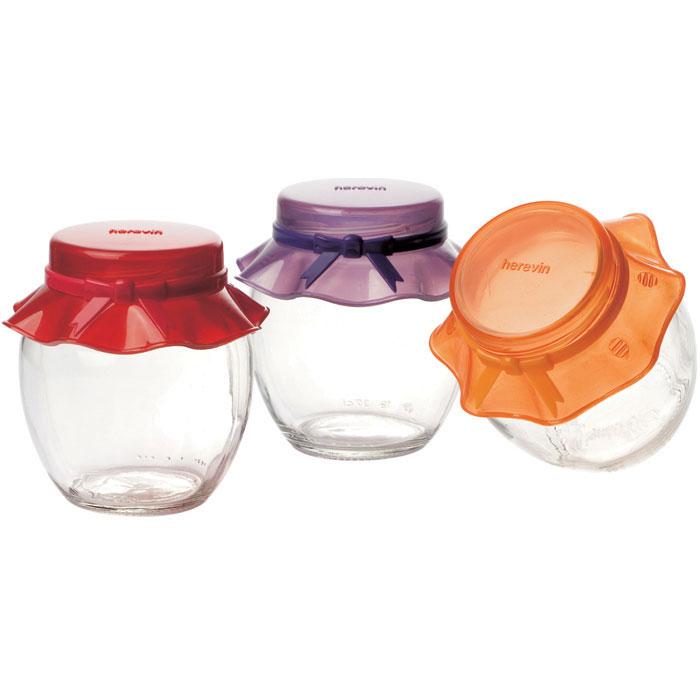 Conjunto de 3 potes porta condimentos com tampa 370ML  - Mix Eletro