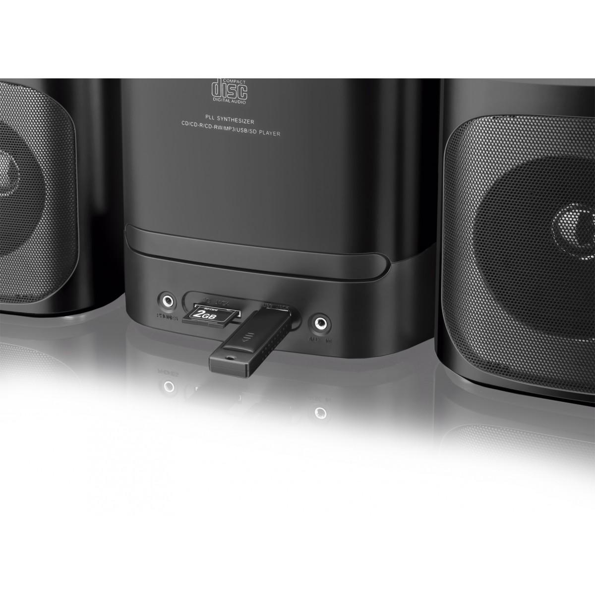 Mini System Som Multilaser 40W  com entrada Dock para iPhone, Rádio/CD/USB/SD  - Mix Eletro