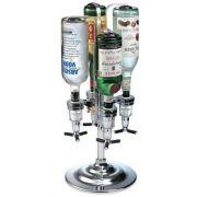 Dispenser porta bebidas para 4 garrafas com dosador e sistema Girat�rio