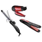 Kit para Cabelos Cadence Belle Rouge Prancha Secador e Modelador bivolt