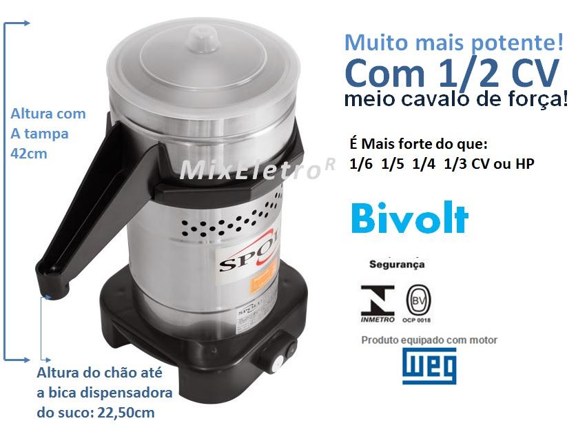 Extrator de suco Potenza Espremedor Industrial Profissional Spolu 600W Bivolt  - Mix Eletro