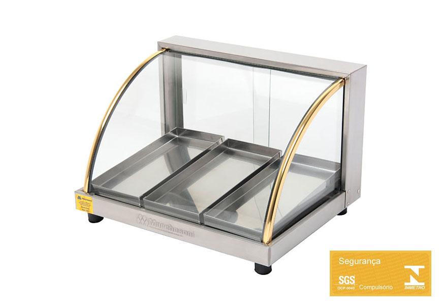 Estufa de vidro para Salgados Marchesoni Linha Ouro com 3 Bandejas  - Mix Eletro