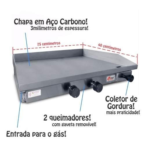 Chapeira Sanduicheira a gás 2 queimadores 75x40cm Cemaf  - Mix Eletro