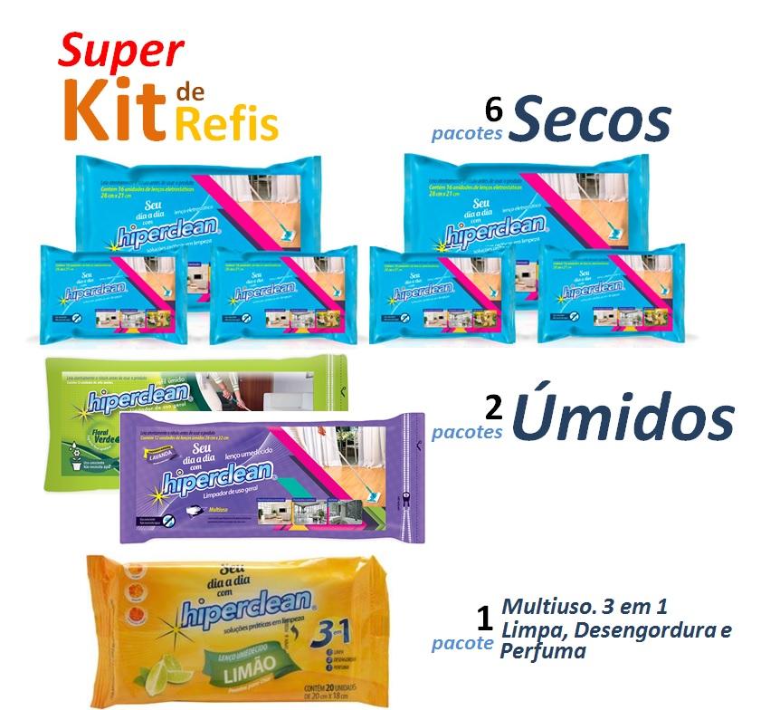 Super Kit de Refil Seco e Refil Úmido + Lenço Umedecido Multiuso Hiperclean  - Mix Eletro