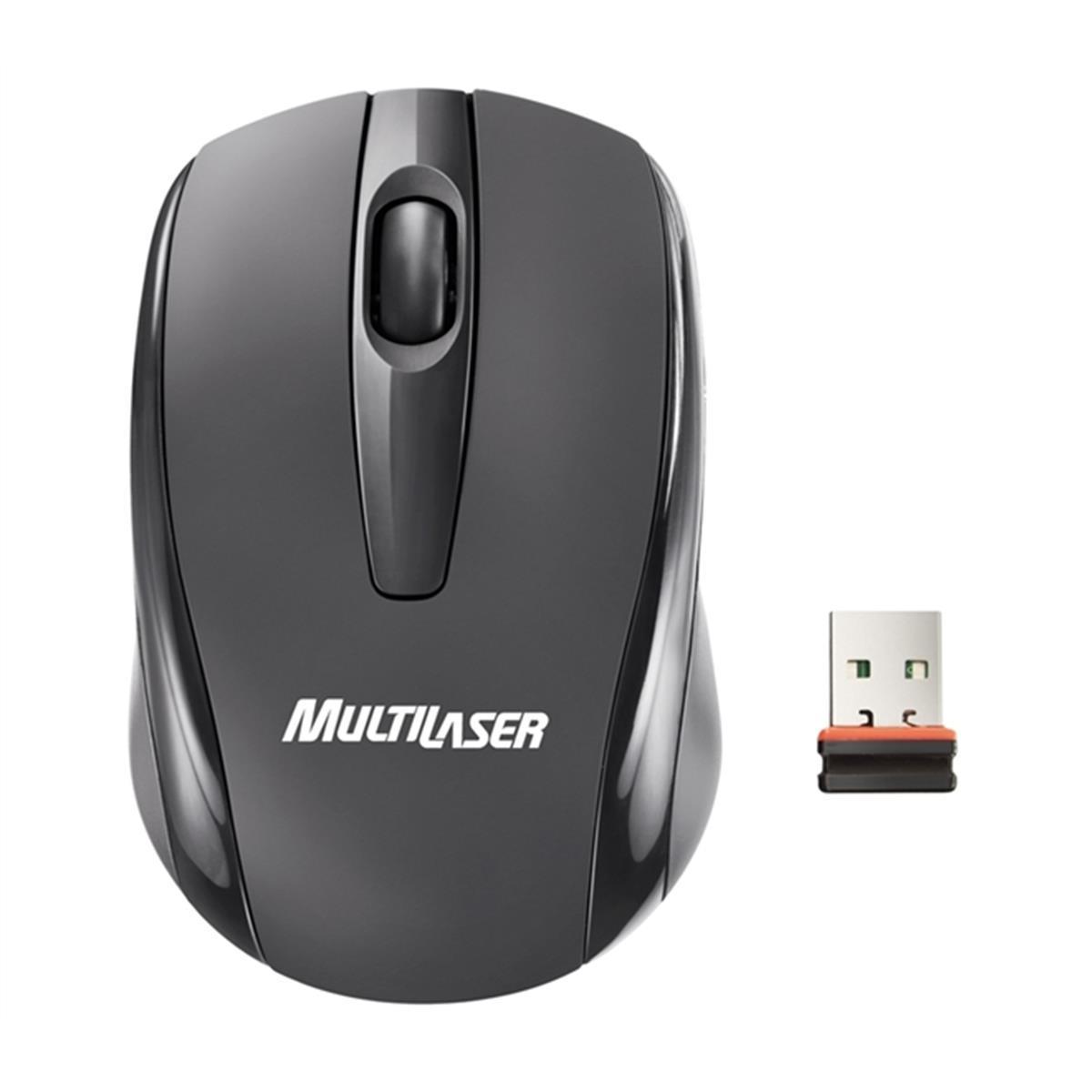 Mini Mouse Óptico Usb Nano sem fio 2,4GHz Multilaser  - Mix Eletro