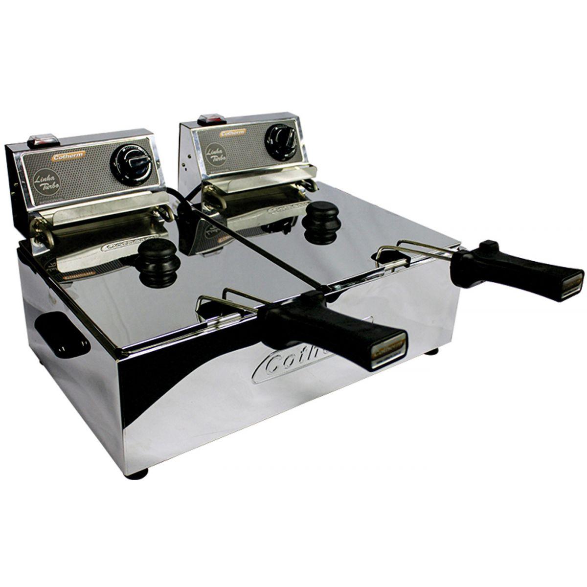 Fritadeira Elétrica 10 Litros 2 Cubas de 5 Litros Linha Turbo 7000W 220V Cotherm  - Mix Eletro