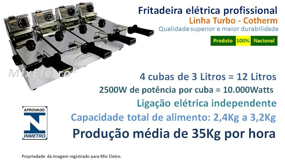Fritadeira Elétrica 12 Litros 4 Cubas de 3 Litros Linha Turbo 10.000W 220V Cotherm  - Mix Eletro
