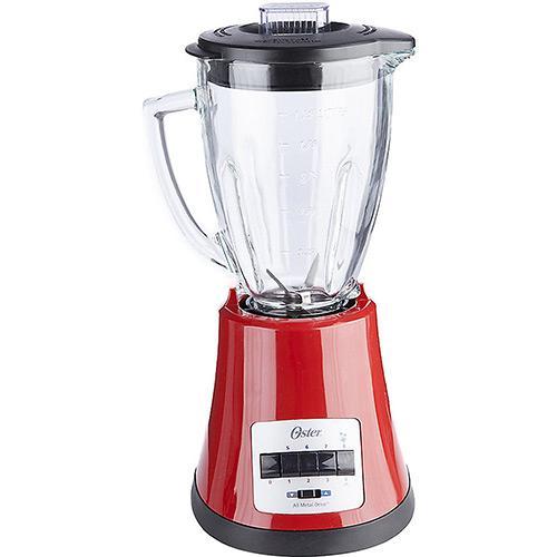 Liquidificador Oster Multichef Vermelho c/jarra de vidro 8 velocidades - 450W  - Mix Eletro