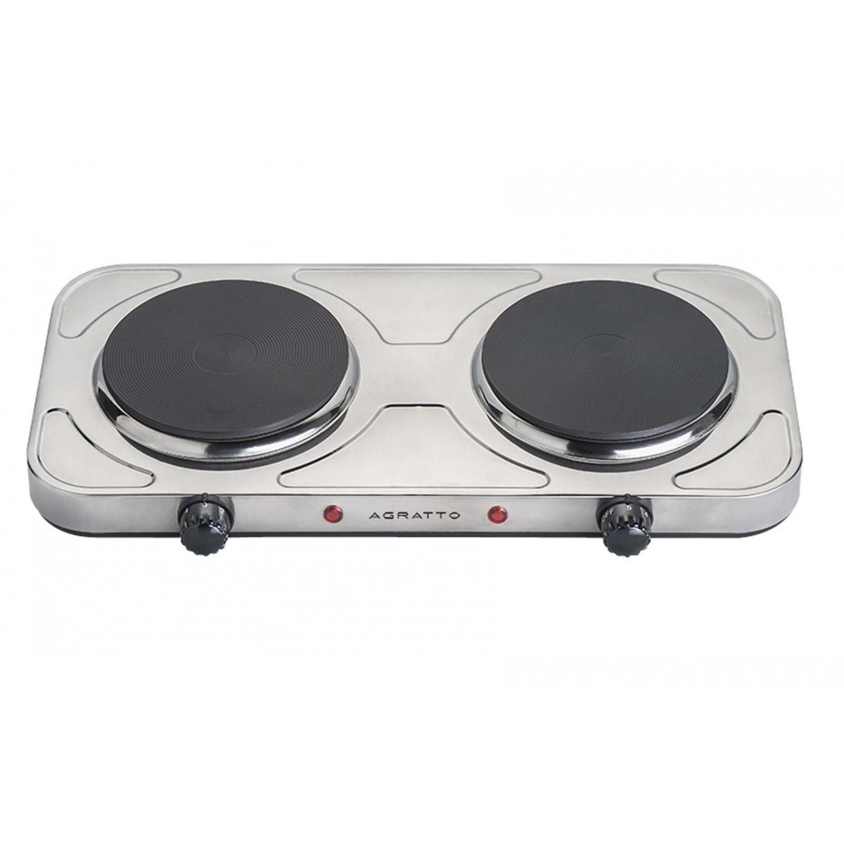 Fogão Elétrico 2 Bocas De Mesa Em Aço Inox Cooktop 2000W Agratto  - Mix Eletro