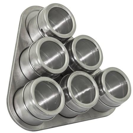 Porta Temperos e Condimentos Magnético com 06 unidades Aço inox com Suporte Triangular  - Mix Eletro