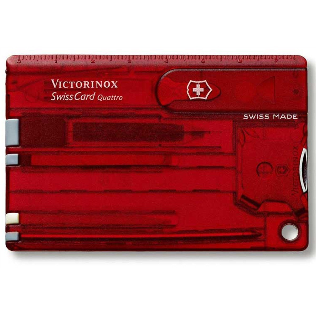 Swisscard Suiço 13 funções Victorinox Quattro Vermelho Translúcido 0.7200.T  - Mix Eletro