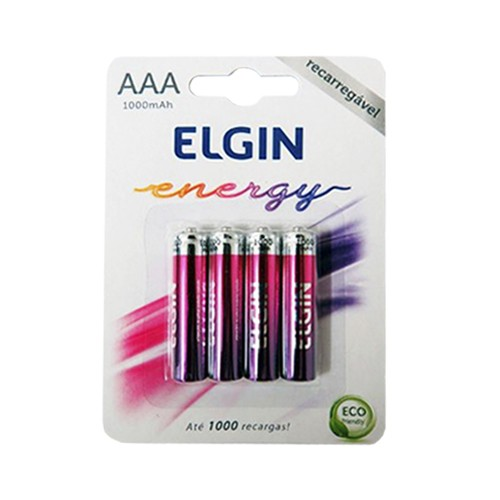 12 Pilhas Recarregáveis Elgin AAA 1000 mAh 1,2V Palito Lacrado Novo Original  - BEST SALE SHOP