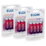 12 Pilhas Recarregáveis Elgin AA 2500 mAh 1,2V Lacrado Novo Original