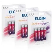 12 Pilhas Recarregáveis Elgin AAA 1000 mAh 1,2V Palito Lacrado Novo Original