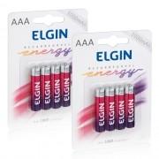 8 Pilhas Recarregáveis Elgin AAA 1000 mAh 1,2V Palito Lacrado Novo Original
